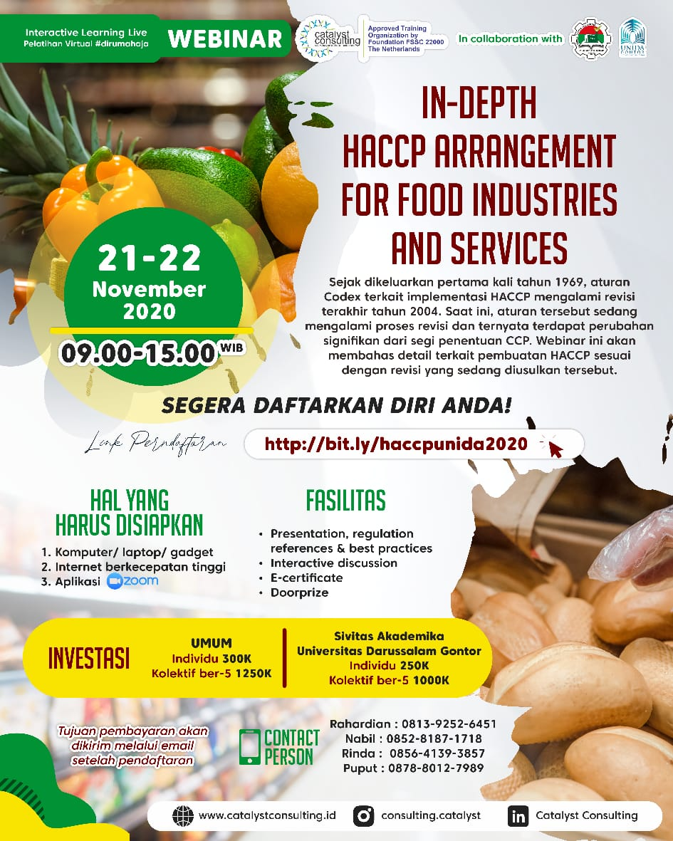 Prodi TIP UNIDA Gontor Menyelenggarakan Pelatihan HACCP -In-Depth HACCP Arrangement for Food Industries and Services